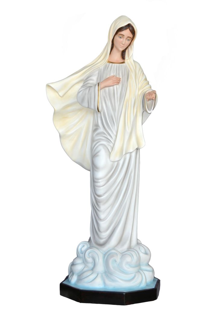Our Lady of Medjugorje statue, height 160 cm. in fiberglass, hand painted with acrylic colors and trim with oil colors, available with glass eyes. Made in Italy