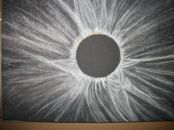 Eclipse drawing on black charcoal paper using soft pastels.  Did this drawing for the August 2017 eclipse.