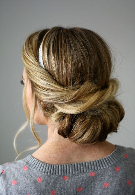 "Loving this ""Wrapped Headband Updo"" with silver ribbon."
