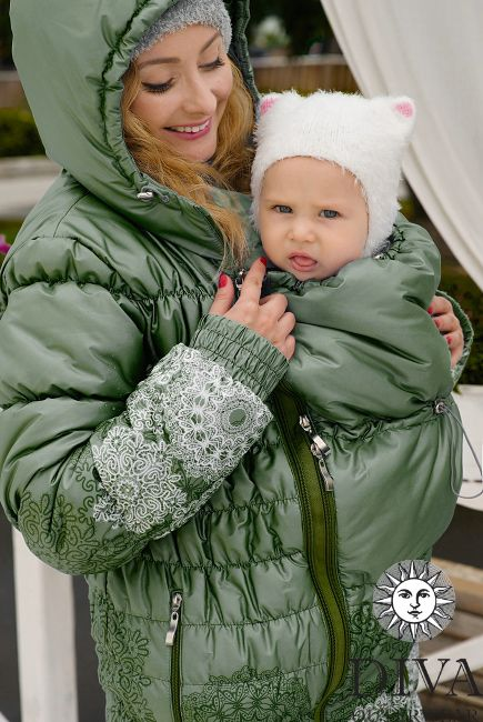 3in1 Babywearing Winter Coat Diva Pino.  Winter coat for front carrying, regular use or during pregnancy.