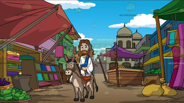 Jesus Riding A Donkey At An Indian Street Market :  Cartoon image of Jesus Christ with long brown hair beard and mustache wearing a white robe and brown sandals as well as a blue sash looks nice and kinds sits on the orange saddle of a gray donkey with pink inner ear both hands holding a rope that is tied on the head of the donkey. Set in an indian rural street market with makeshift textile awning in pale red and green anchored by slabs of wood wooden shelves that display different fabrics…