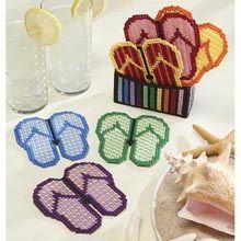 Flip Flop Coasters w/Holder Plastic Canvas Kit - Herrschners