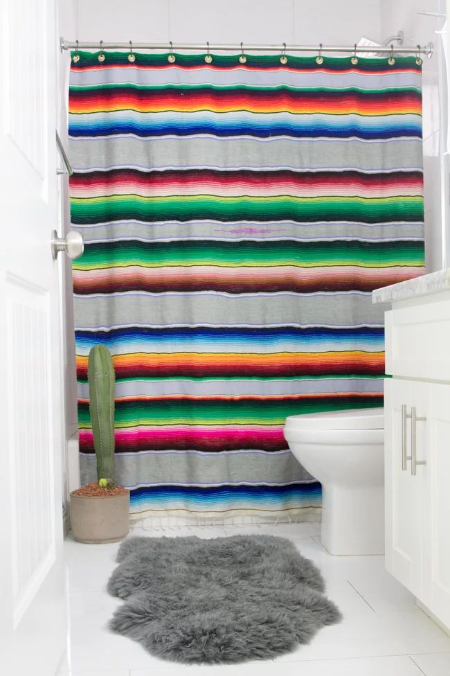 DIY serape shower curtain made from an old blanket
