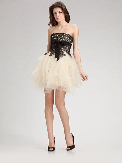 Robert Rodriguez Black Label  Lace & Tulle Cocktail Dress