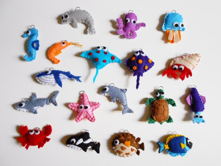 Elige uno: Llavero o adorno juguete animales marinos - cangrejo,medusa,estrella,pez globo,gamba,delfín,tiburón,raya,pulpo,calamar, tortuga by CaiMonkeyCrafts on Etsy