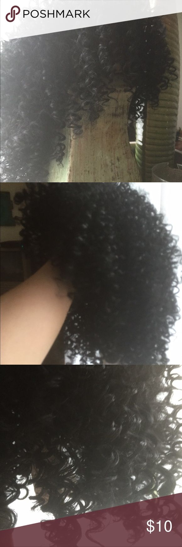 Shoulder length black curly wig Tags on. Tight curls are supposed to loosen. Accessories