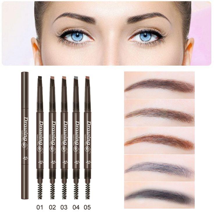 2016 hotブランドメイクアップ眉色鉛筆高品質ダブルエンド防水ブラウンメイク眉毛ペンでブラシ
