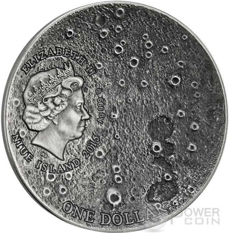 SOLAR SYSTEM MOON NWA 8609 Lunar Meteorite High Relief Silver Coin 1$ Niue 2015