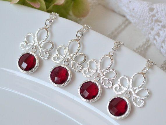 Burgundy red bridesmaid necklaces red wine by ArtemisBridalJewelry