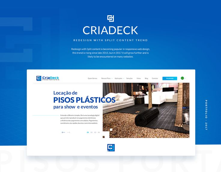 Redesign of the homepage of the site https://criadeck.com.br/