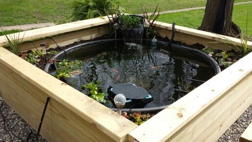 300g Rubbermaid stock tank made into raised fish and Koi pond. Framed with 2x12's, walls insulated, filled with dirt and planted.