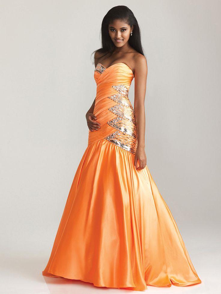 Trumpet/Mermaid Sweetheart Elastic Woven Satin Floor-length Orange Ruffles Prom Dresses at Msdressy