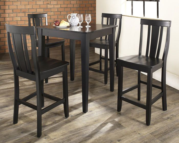 Crosley Furniture KD520006BK 5 Piece Pub Dining Set With Tapered Leg And Shield Back Stools In