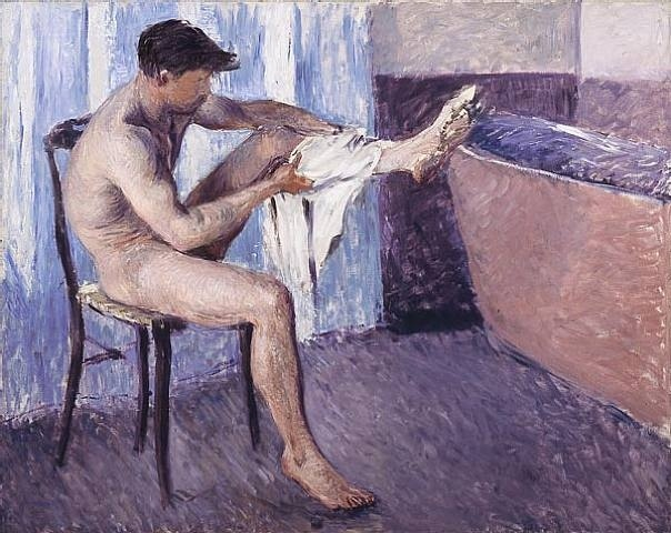Gustave Caillebotte - 'Homme s'essuyant la jambe' 1884 Rounding out his subject matter, he painted a few nudes, most notably Nude on a Couch (1882), which, though provocative in its realism, is ambivalent in its mood — neither overtly erotic nor suggestive of mythology
