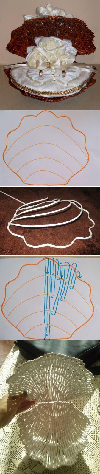 Морская раковина из газетных трубочек. Элегантное интерьерное украше | плетение из газет | Постила