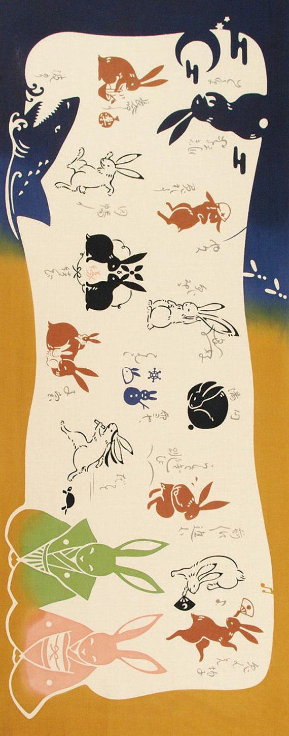 Japanese Tenugui Cotton Fabric, Kawaii Rabbit, Samurai + Kimono Bunny, Shark, Hand Dyed Fabric, Funny Animal Art Fabric, Home Decor, k171