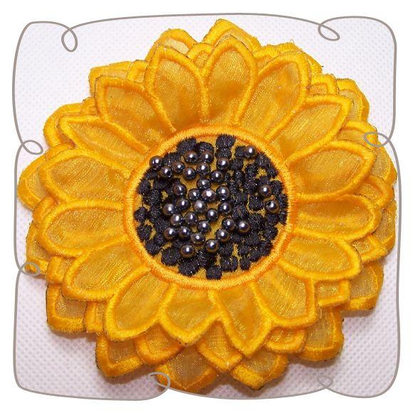 3D Sunflower Fabric Flower: Embroidershoppe