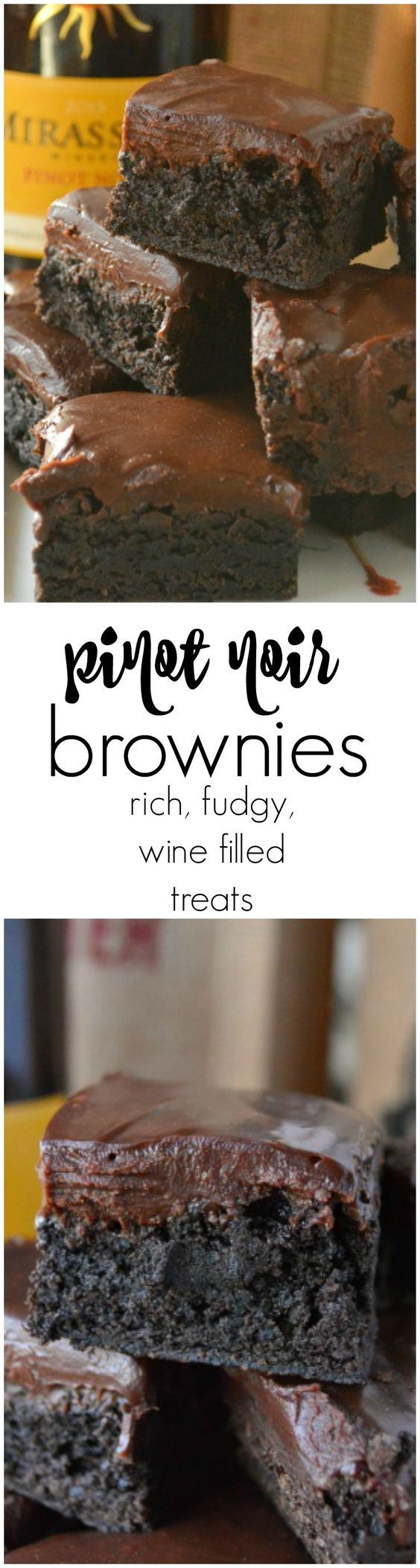 Pinot Noir Brownies are the richest, fudgiest brownies I have EVER made. They are dense, loaded with dark chocolate, and have the beautiful hint of cherries, strawberries, and red currants that Mirassou Pinot Noir offers.