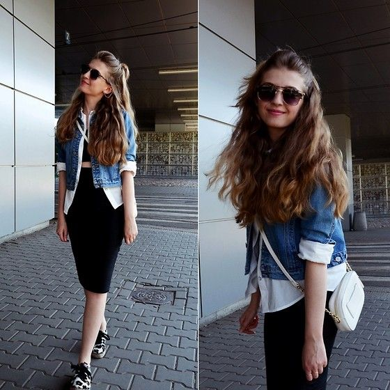 This how Sylwia Gocajna wears Bata Espadrilles with black and denim #Batashoes #shoes   #casual #edgy #sporty #jeans #whiteshirt #white #black #bw #espadriles