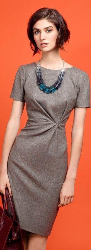 Latest fashion trends: Paule Ka 2015   Elegant grey office dress with statement necklace