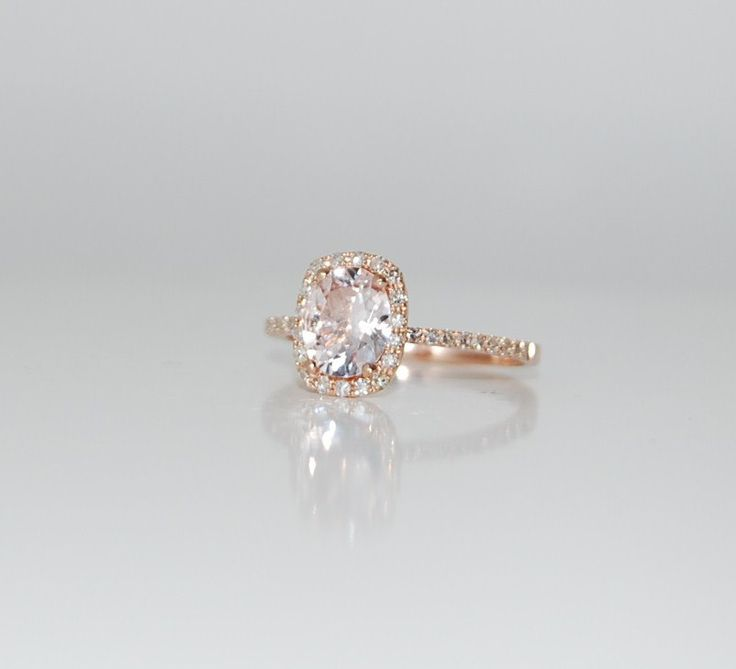 2.75ct Cushion ice peach champagne color change sapphire in 14k rose gold diamond ring engagement ring. $3,000.00, via Etsy.