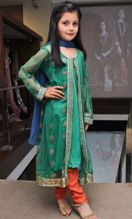 Buy Green Embroidered Chiffon Gown Style Dress by PakRobe.com