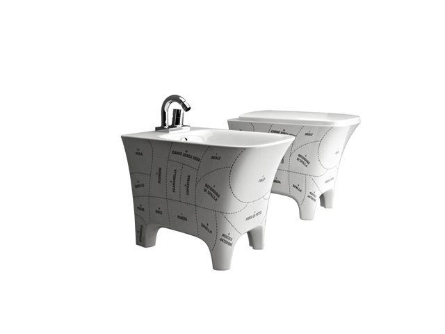 Cow, design Meneghello Paoelli Associati Sanitari con ironico decoro con i tagli della carne / Sanitaryware with ironic decoration with the cuts of meat. #bathroom #design #sanitaries #sanitaryware #sanitari #bagno