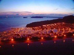 長崎県松浦市で毎年開催されている土谷棚田の火祭りが素敵過ぎる 海を臨む棚田にあぜ道に並べられた約3000本ものろうそくが灯されて幻想的な光景に(o) 今年は月日に開催されるのでぜひ行ってみてくださいね tags[長崎県]