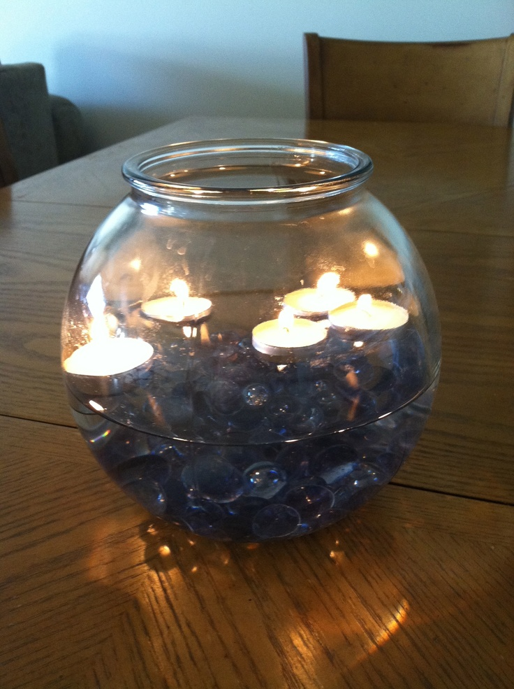 · I am looking for inspiration please Could you please post photos of your goldfish bowl centrepieces. I am thinking about using the battery-operated lights for the evening to give the tables some light but have been unable to find any pics.