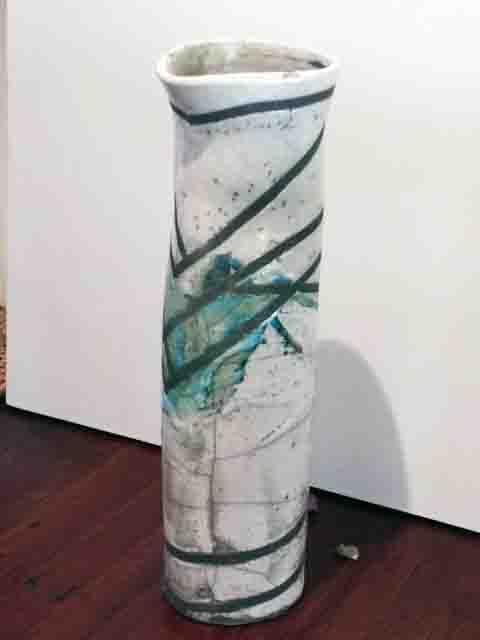 Yvonne Kitchener Raku fired Vase (greywhite aqua splash)