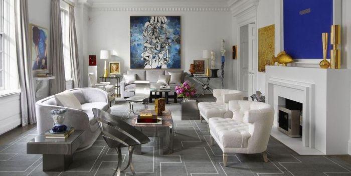 deko wohnzimmer modern, designer sitzmöbel, weiße sessel, abstraktes ...