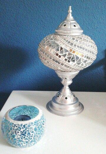Lampara turca pintada en plata