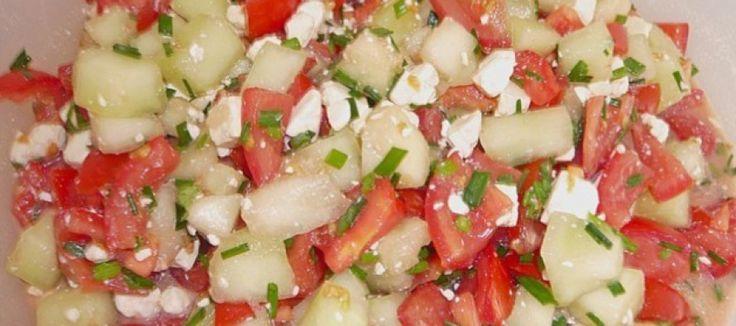 Tomatensalade met honingmeloen en feta - Lekker Tafelen