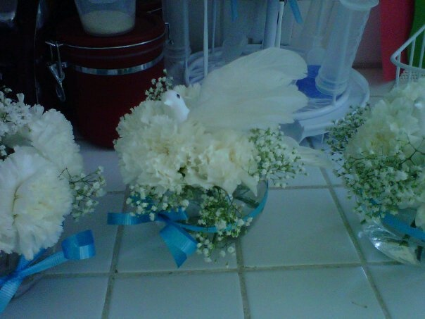the centerpieces I made for my son's baptism