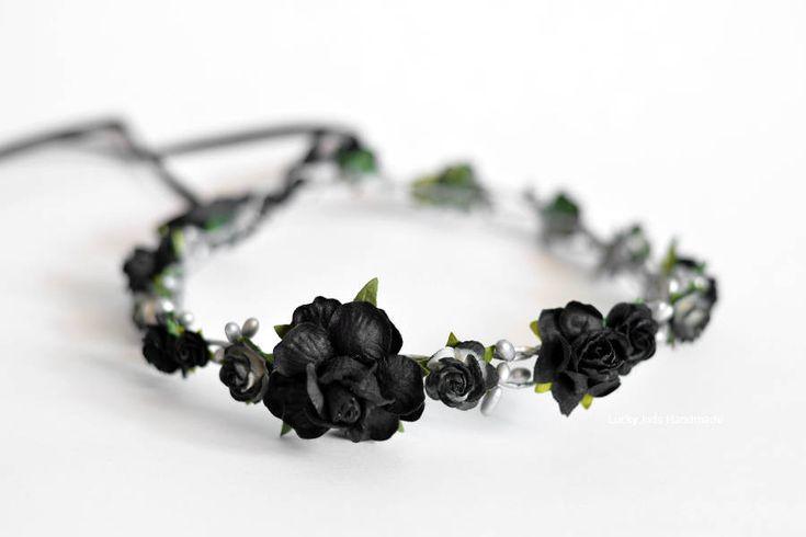 Gothic wedding flower crown Silver black floral crown, Bridal flower crown Black flower hair piece Gothic wedding hair acessories Mum and Me