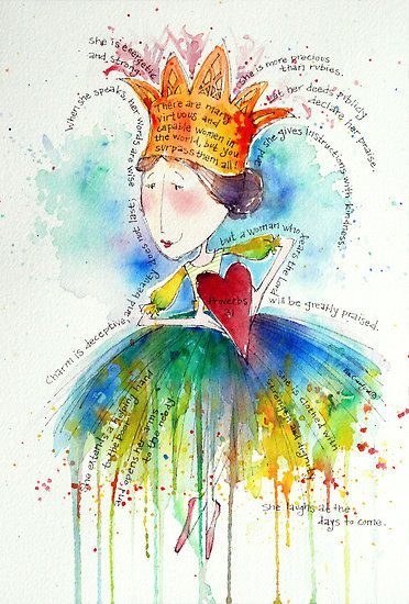 Eva Crawford's artwork always warms my heart and makes me smile.  As a 50 year old, I really appreciate her Proverbs 31 queen!