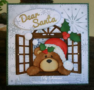 Simone Lupscha: Papiart for CottageBLOG: Dear Santa.... - 10/6/13.  (Dies: Homemade Christmas Gifts - bear; Springtime Window; Holly Berry Mini.)  (Pin#1: Dies: Cottage Cutz.  Pin+: Christmas: Critters.)