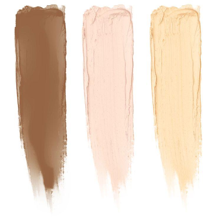 NYX Cream Highlight & Contour Palette - úžasně praktická paletka se třemi krémovými odstíny: Jeden pro rozjasnění, druhý pro konturování a třetí pro umocnění působivé záře nádherné pleti.