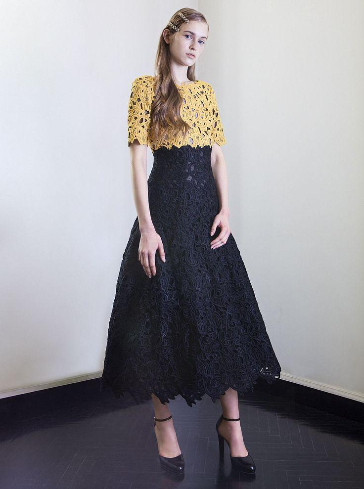 PR 1742 Guipure Lace Bi-Color Tea Length Dress, Black
