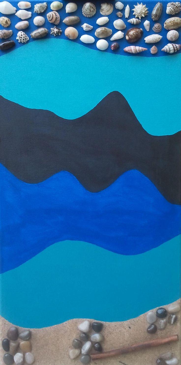 Mare e Spiaggia - 2012 - Acrilico su tela con sabbia e pietre di mare e conchiglie - Acrylic on canvas with sand and stones and sea shells 30x60cm