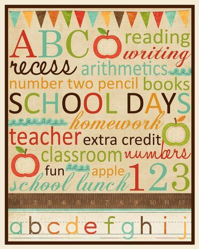 Back to School Subway Art - free printable. Use for teacher gift