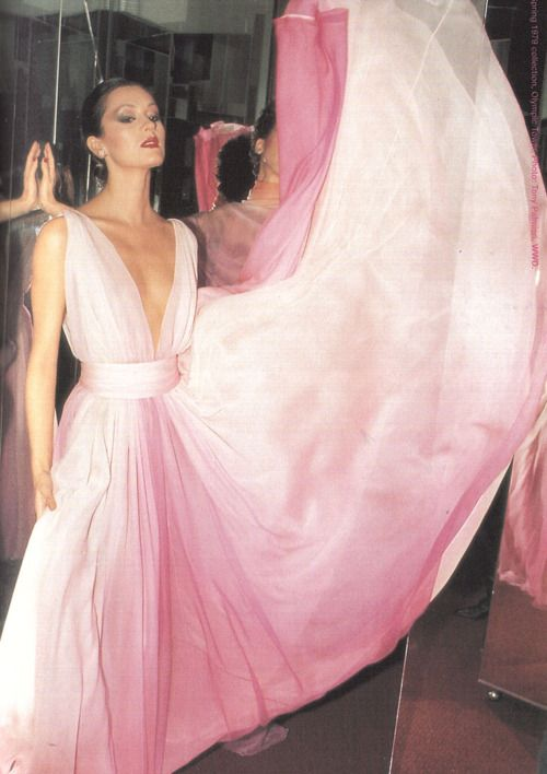 Dress by Halston, 1970s. #colourinspiration #accentedpastels