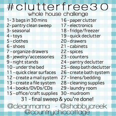 Get clutter free in your home in just 30 days with this schedule. A great schedule that covers the entire home quickly!