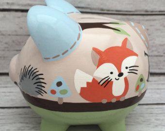 Artículos similares a Alcancía personalizada, chicloso artesanal mano pintado cerámica personalizada alcancía diseño chicloso en Etsy