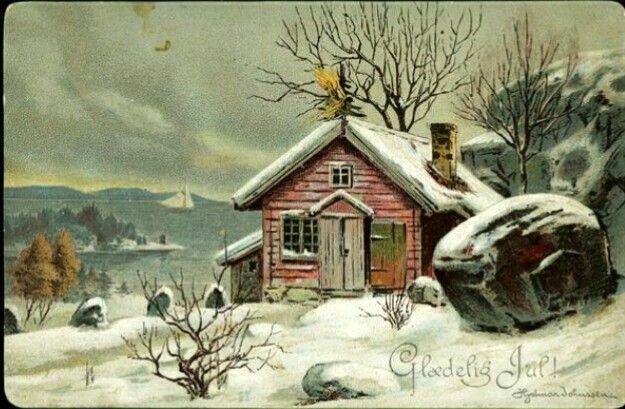 Julekort Hjalmar Johnssen kunstnerkort fra slutten av 1800-tallet