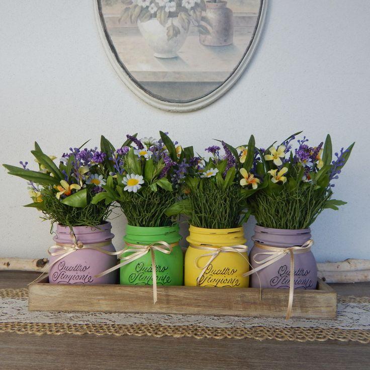 """Vasi dipinti """"FIORI di LAVANDA"""" Set 4 barattoli + vassoio + fiori - Primavera - Centrotavola - Cerimonie - Painted jars """"Lavender Flowers"""" di LUCIDELNORD su Etsy"""