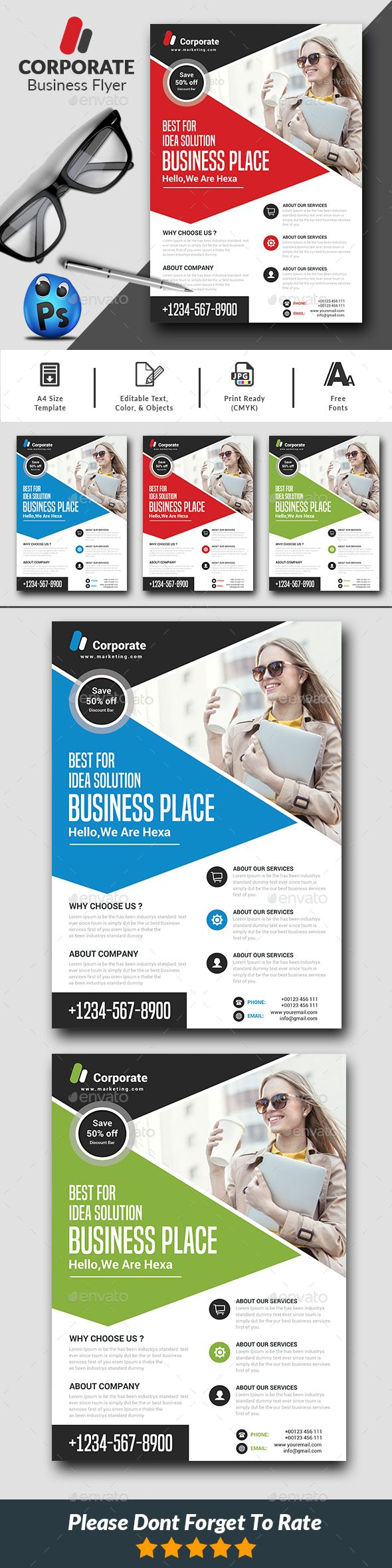 Corporate Flyer #layouts #website  • Download here → https://graphicriver.net/item/corporate-flyer/21104646?ref=pxcr