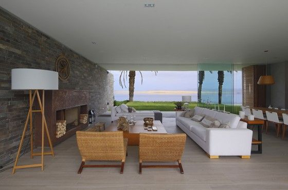 Diseño de moderna sala de casa de playa