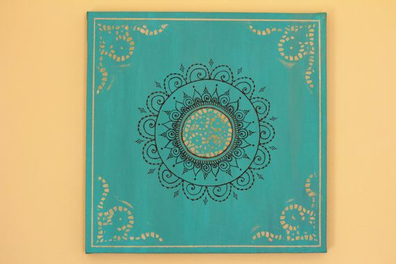 Teal/Turquoise Mandala Henna Canvas  12 X 12 by PrincessAzmirelda, $36.20