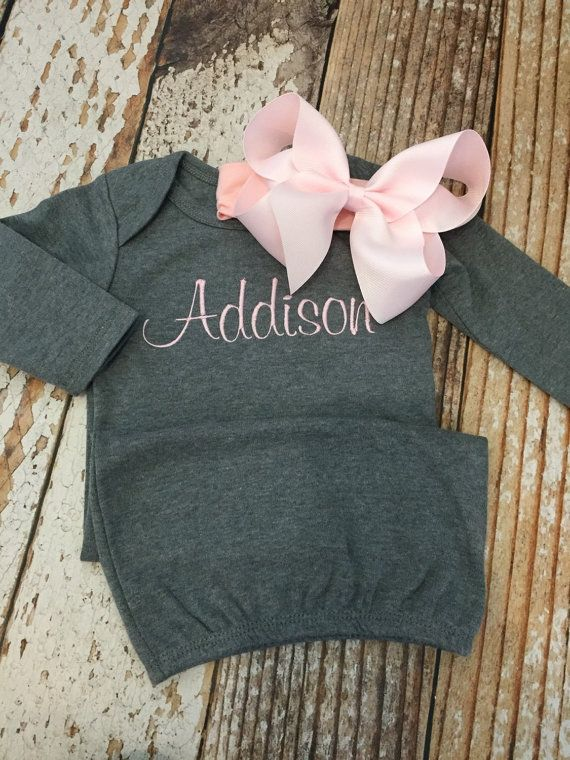 Monogrammed gown with matching bow personalized baby by skkilby21